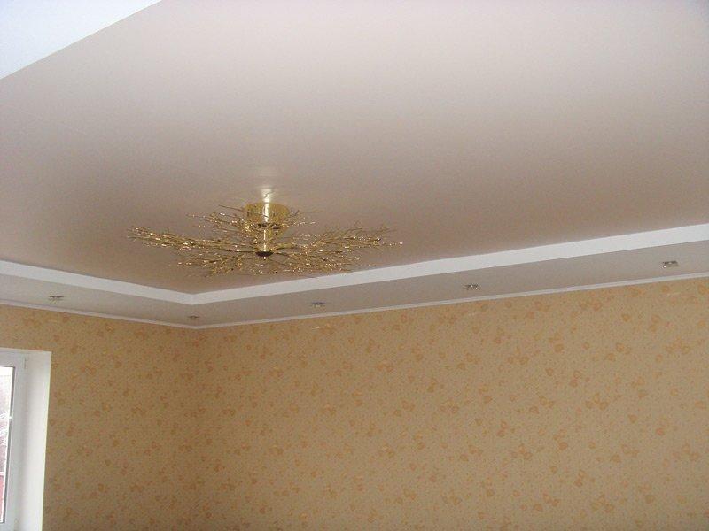 Двухуровневый натяжной потолок пример 11