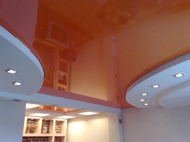 Двухуровневый натяжной потолок пример 9
