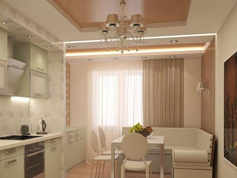 Натяжной потолок на кухне пример 17